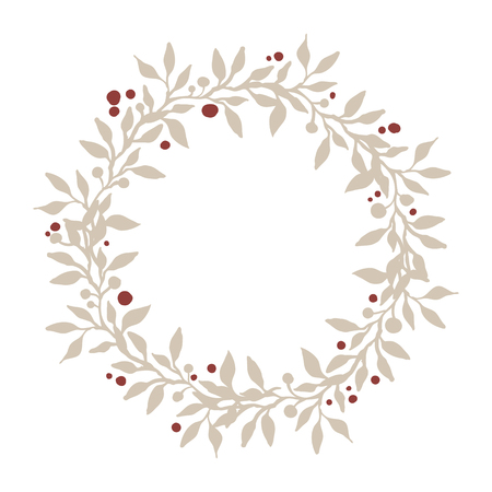 Hand drawn wreath of branches, leafs and berries. Beautiful nature element. Rustic decoration. Christmas wreath.
