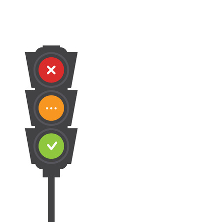 no image: Traffic light signals. Flat illustration. Safety infographic. Vector image of semaphore with place for your text on white background. Yes, no and wait. Illustration