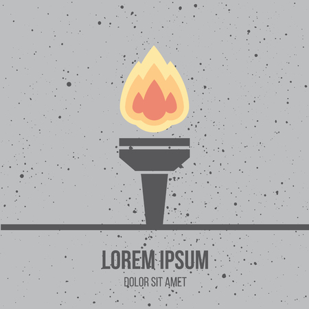 torch flame: Modern flat design icon of burned torch. Flame. Symbol of friendship, peace and victory