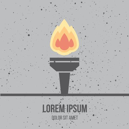 icono deportes: Moderno icono de diseño plano de la antorcha de quemado. Llama. Símbolo de la amistad, la paz y la victoria