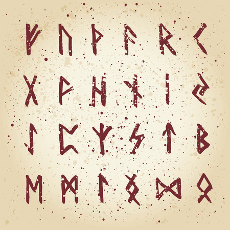 rune: Set of handsketched ancient Old Norse runes. Runic alphabet (Futhark). 24 scandinavian and germanic letters.Hand drawn magic symbols.