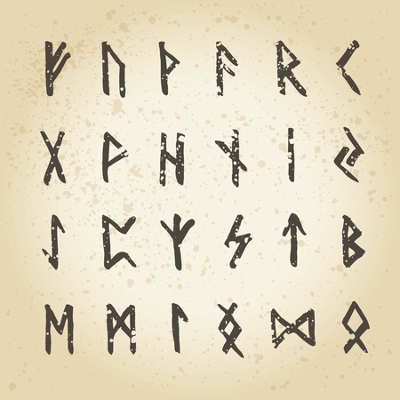 Set of handsketched ancient Old Norse runes. Runic alphabet (Futhark). 24 scandinavian and germanic letters.Hand drawn magic symbols.
