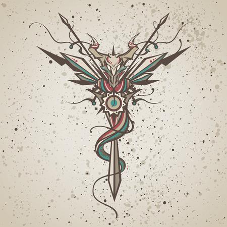 Dragon. Totem animal. Vector illustration, tattoo, t-shirt print. Dragon china zodiac symbol.
