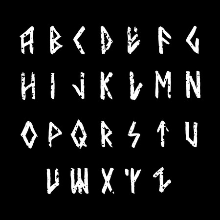 germanic people: Modern vector runic style hand drawn alphabet. ABC paintad letters. Ink lettering. Illustration