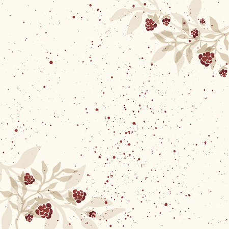 chicout�: Hand drawn invitation template with cloudberry branches. Raspberry branch. Rustic background. Illustration