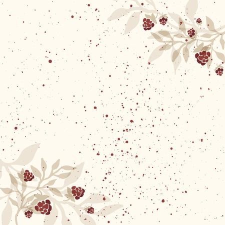 chicouté: Hand drawn modèle d'invitation avec des branches de chicouté. branche Framboise. fond rustique.