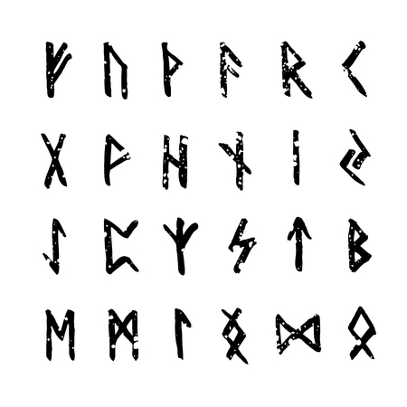 futhark: Set of handsketched ancient Old Norse runes. Runic alphabet (Futhark). 24 scandinavian and germanic letters.Hand drawn magic symbols.
