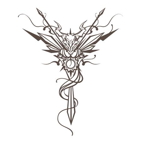 legendary: Dragon. Totem animal. Vector illustration, tattoo, t-shirt print. Dragon china zodiac symbol.