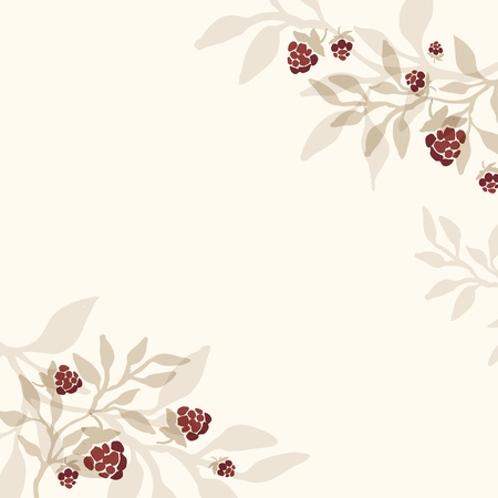 chicouté: Hand drawn invitation template with cloudberry branches. Raspberry branch. Rustic background. Illustration