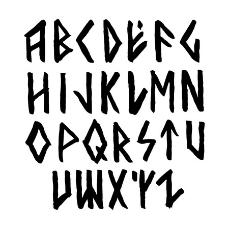 Modern vector runic style hand drawn alphabet. ABC paintad letters. Ink lettering. Nordic font.