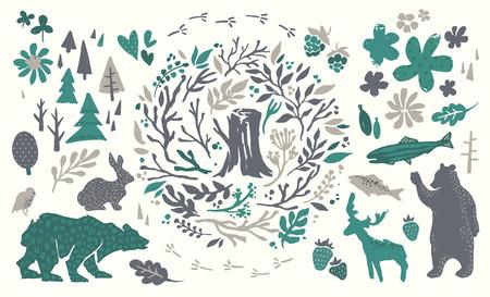 北方林の手書き要素。手描き北欧セット。動物、花柄、花、枝、果実、木のベクトルのコレクションです。クマ、シカ、魚、ウサギ、鳥のシルエッ