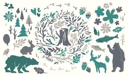 northern: Handsketched elements of northern forest. Hand drawn nordic set. Vector collection of animals, florals, flowers, branches, berries, trees. Bear, deer, fish, rabbit, bird silhouettes. Illustration