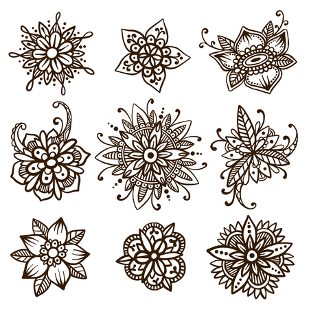 tattoo traditional: Beautiful vector set of 9 handsketched mehndi flowers. Henna florals collection. Oriental flower doodles based on traditional indian ornaments. Ethnic flash temporary tattoo. Anti-stress colorbook template