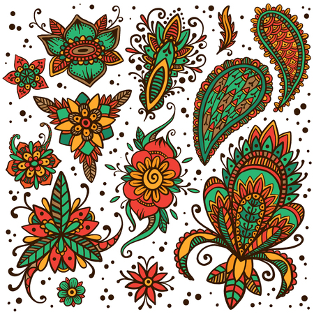 temporary: Handsketched set of beautiful mehndi design elements. Henna temporary flash tattoo. Traditional ethnic indian style henna ornaments. Adult color book creative paisley doodles. Vector collection. Illustration