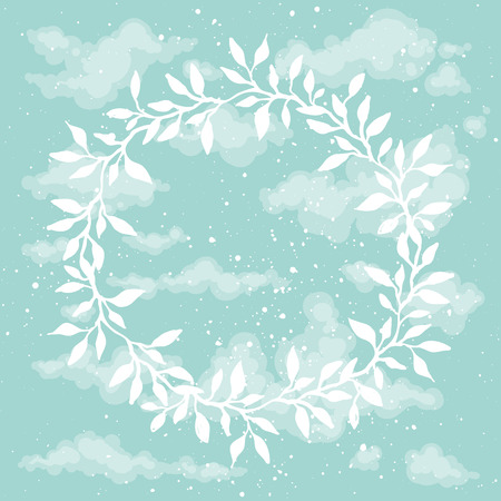 outdoor wedding: Beautiful hand drawn floral frame on blue sky background.Heaven. Greeting card with handsketched cute wreath
