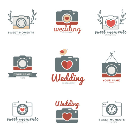 photo story: Set of cute and creative wedding photo templates. Photographer collection. Flat icons. Love story photo.