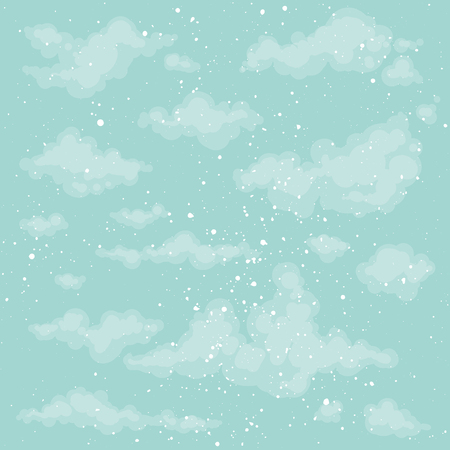 heaven background: Cute heaven background. Blue sky backdrop. Vector clouds. Spring, summer background