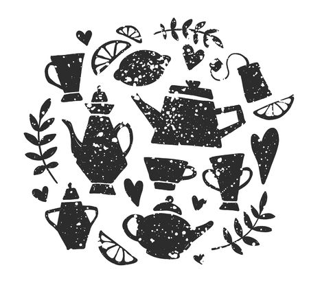 Tea party handsketched doodle set. Tea lettering, vector typography elements. Sketched kettle, cup, tea bag, lemon, hearts and branches. Vintage tea time collection. Different teapots and cups. Иллюстрация