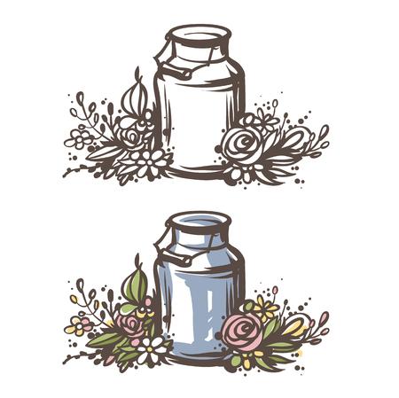 手描きのミルクは花を持つことができます。新鮮な牛乳 - カントリー スタイル ベクター スケッチ。ビンテージ アルミ ミルク缶木製ハンドルとフロ