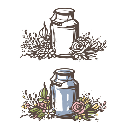 Hand drawn milk can with flowers. Fresh milk - country style vector sketch. Vintage aluminium milk can with wooden handle and floral wreath. Rural illustration.