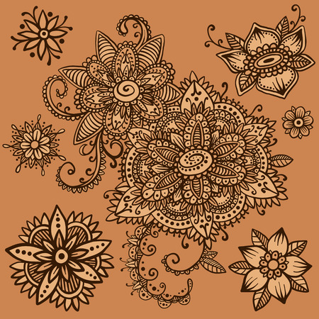 Beautiful vector set of mehndi style henna floral elements. Hand drawn flowers and paisley. Flash temporary tattoo. Mehndi design collection based on traditional indian ornaments. Doodle ornaments. Illustration