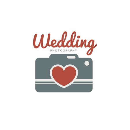 photo story: Wedding photography template. Creative photo studio flat icon. Love story photo emblem.Hipster photographer labels and badges in vintage style