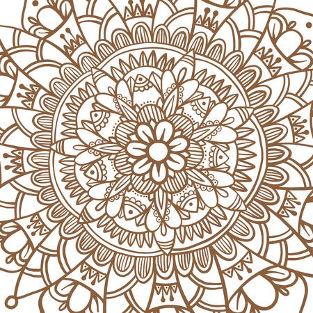 Hand drawn flower mandala, decorative round ornament. Henna design, mehndi element. Yoga logo, background for meditation poster. Oriental floral vector. Anti-stress therapy pattern. Illustration