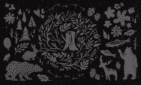 bear berry: Handsketched elements of northern forest. Hand drawn nordic set. Vector collection of animals, florals, flowers, branches, berries, trees. Bear, deer, fish, rabbit, bird silhouettes. Illustration
