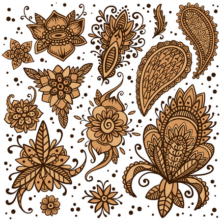 Handsketched set of beautiful mehndi design elements. Henna temporary flash tattoo. Traditional ethnic indian style henna ornaments. Adult color book creative paisley doodles. Vector collection. Illustration