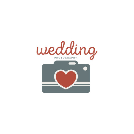 wedding photography: Wedding photography template. Creative photo studio flat icon. Love story photo emblem.Hipster photographer labels and badges in vintage style