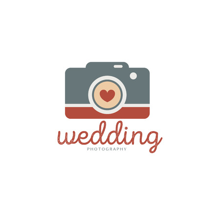 Wedding photography logo template. Creative photo studio flat icon. Love story photo emblem.Hipster photographer labels and badges in vintage style