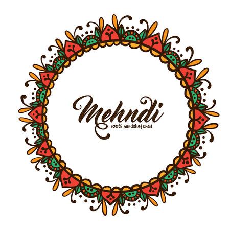 mehendi: Beautiful Indian floral ornament. Mehndi style decorative round frame. Ornate mandala. Plate design. Traditional indian ethnic decor