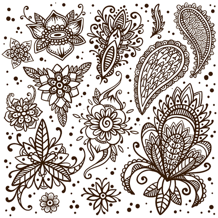 mendie: Handsketched set of beautiful mehndi design elements. Henna temporary flash tattoo. Traditional ethnic indian style henna ornaments. Adult color book creative paisley doodles. Vector collection. Illustration