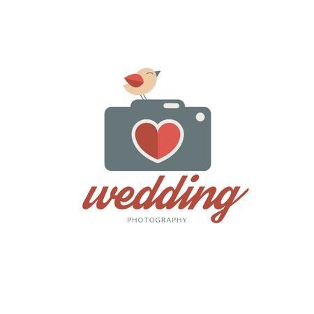 photo story: Wedding photography template with cute bird. Creative photo studio flat icon. Love story photo emblem Illustration