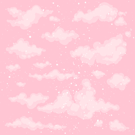 Cute heaven background. Pink morning sky backdrop. Vector clouds. Spring, summer background