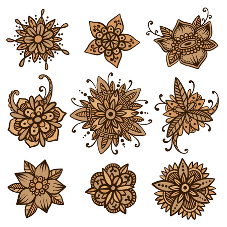 mhendi: Beautiful vector set of 9 handsketched mehndi flowers. Henna florals collection. Oriental flower doodles based on traditional indian ornaments. Ethnic flash temporary tattoo. Anti-stress colorbook template