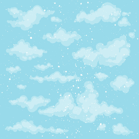 Cute heaven background. Blue sky backdrop. Vector clouds. Spring, summer background