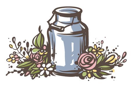 손으로 그린 된 우유 수 있습니다 꽃으로. 신선한 우유 - 컨트리 스타일 벡터 스케치입니다. 빈티지 알루미늄 우유 나무 손잡이와 꽃 화 환 수 있습니다