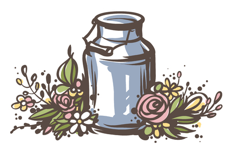 steel. milk: Hand drawn milk can with flowers. Fresh milk - country style vector sketch. Vintage aluminium milk can with wooden handle and floral wreath. Rural illustration.