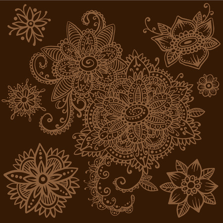 mhendi: Beautiful vector set of mehndi style henna floral elements. Hand drawn flowers and paisley. Flash temporary tattoo. Mehndi design collection based on traditional indian ornaments. Doodle ornaments. Illustration