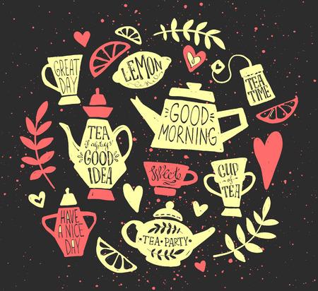 taza de té: fiesta del té handsketched conjunto del doodle. letras de té, los elementos del vector de la tipografía. Bosquejado tetera, taza, bolsa de té, limón, corazones y ramas. colección de la hora del té de la vendimia. Diferentes teteras y tazas.