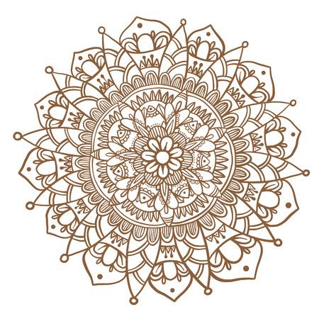 Hand Gezeichnet Blumen-Mandala, Dekorative Runde Verzierung. Henna ...
