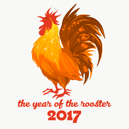 fire symbol: illustration of the red rooster. Fire rooster - symbol of the Chinese New Year. Fire bird, red cock. Happy New Year 2017 greeting card.