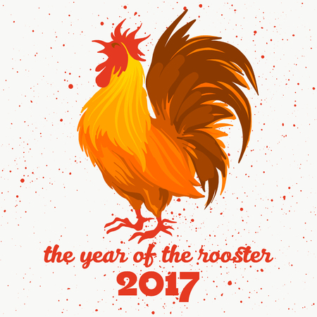 fire symbol: illustration of the red rooster. Fire rooster - symbol of the Chinese New Year. Fire bird, red cock. Happy New Year 2017 greeting card. Concept of fire rooster on textured background.