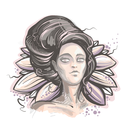 Night lady vector illustration, mysterious woman portrait on the lotus background. Hand-painted print. Head of beautiful young sorceress.