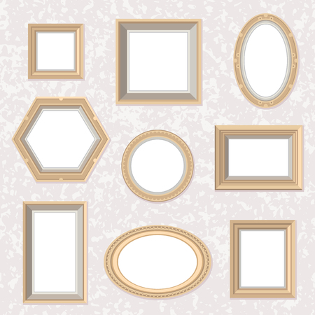 Vector set of flat style golden photo frames on the marble textured wall. Different shapes and colors. Photo, picture, drawing, painting frame. Vintage, retro illustration. Cute cartoon frames, great for wedding ivitations, postcards, posters. 矢量图像