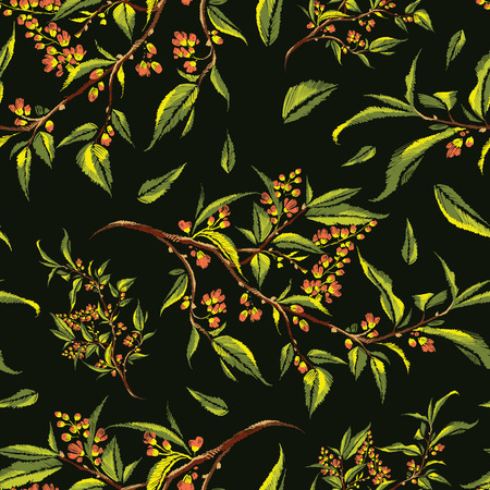 Floral embroidery seamless pattern with stylized colorful blooming cherry branch on dark background. Early spring twig with flowers, flower buds, and leaves. Fashion trend vector illustration. Ilustração
