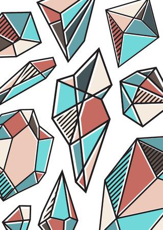 크리스탈 패턴 유행 벡터 엽서입니다. 신성한 형상 포스터. 다른 색상의 다이아몬드.