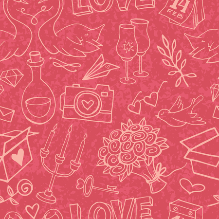 Cute and gentle Valentines Day handsketched delicate seamless pattern with marble texture. Valentine doodle elements on textured background.Wrapping paper with love symbols