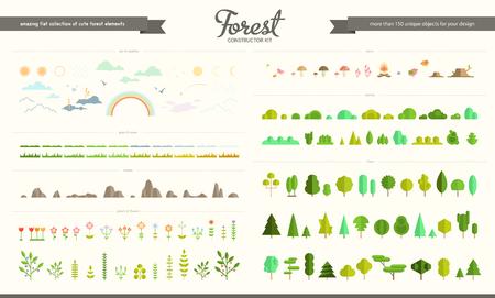 큰 벡터 플랫 숲, 공원 및 날씨 요소, 다양 한 나무, 덤 불, 잔디, 꽃, 돌, 버섯, 새, 구름, 태양 및 달의 집합입니다. 자연 아이콘 컬렉션, infographic 요소입니다. 플랫 포리스트 생성자. 스톡 콘텐츠 - 83935103